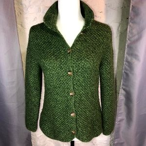 Sweaters - Green Knit Button Down Sweater Jacket Cardigan M